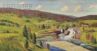 valley vista with farm and river by john nichols haapanen