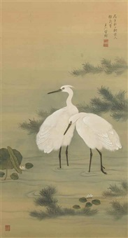 two herons in a stream with lotus by gyokusen mochizuki