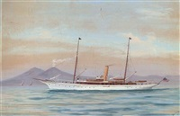 "the new york yacht club steam yacht ""gunilda"" in neapolitan waters by a. de simone"