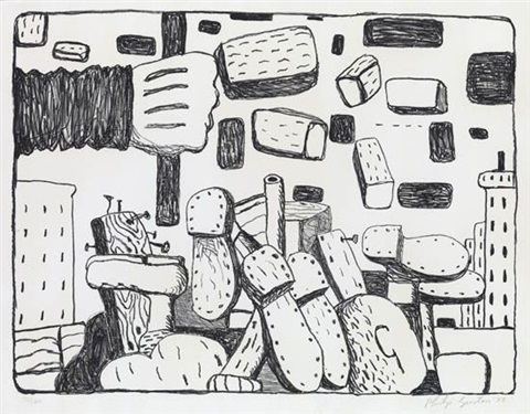 street from ten lithographs by ten artists by philip guston