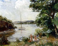 bathers by a lake by astri welhaven heiberg