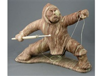 untitled (inuit hunter with spear) by paul qayutinnuaq