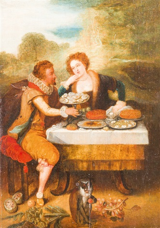 elegantes paar beim austernessen by louis de caullery