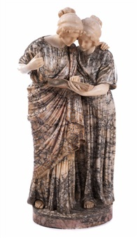 marmorfigurengruppe zweier in einem buch lesenden mädchen by richard aurili