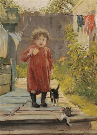 in the alleya little girl with kittens by frank hector tompkins