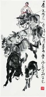 牧驴图 镜心 设色纸本 by huang zhou