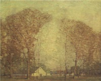 barn in wooded landscape by ernest bruce nelson