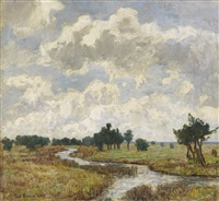 sonnig-wolkiger himmel über moorigen wiesen mit bachlauf by paul baum