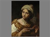 portrait einer jungen frau mit weinprobierschale by flaminio (dagli ancinelli) torri