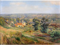 french landscape, summer, with a village and church spire in the foreground by charles jean coussebiere