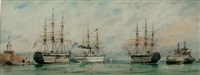 view at portsmouth showing h.m.s. duke of wellington, h.m.s. serapis and h.m.s. victory by william edward atkins