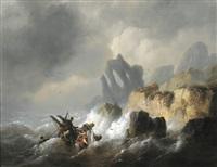 schiffbruch an felsenklippen by egidius linnig