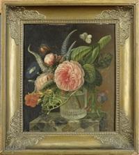 nature morte aux fleurs et libellule by augustine vervloet