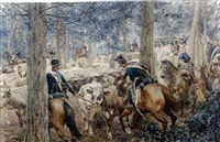 hussars rounding up cattle by felicien de myrbach-rheinfeld