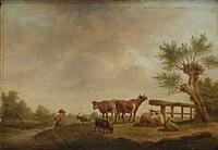 landskap med kor och getter by henri-joseph antonissen