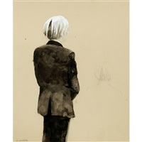 andy warhol, standing back view by jamie wyeth