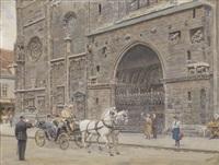 kaiser franz josef in einer pferdekutsche vor dem riesentor by ernst graner