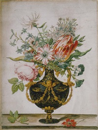 flowers in a decorative urn by jan baptist fornenburgh