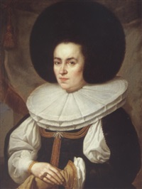 portrait of a lady wearing a black dress with a broad lace ruff and fur hat by pieter nys