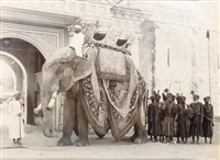 jaipur. elephant of his highness sir madho singhji bahadur, maharaja of jaipur, and retainers at a gate of the outer palace courtyard by gobindram & oodeyram