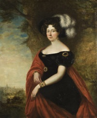 portrait of a lady, in a plumed hat, black jeweled gown and red cloak, in the grounds of a gothic palace by george dawe