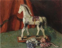 a still life with a toy horse by johan buning