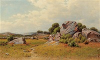 rocky meadow with view to the sea by george w. waters