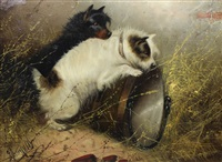 two terriers ratting (pair) by edward armfield