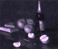 stilleben mit früchten, b_chern und flasche by alcide davide campestrini