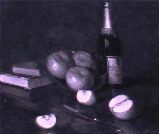 stilleben mit früchten bchern und flasche by alcide davide campestrini