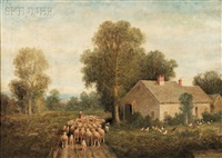 farmhouse with flock of sheep and chickens by elbridge wesley webber