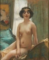 jeune fille nue se mirant by henri gervex