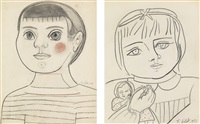 claude viii (i.) & paloma with doll (ii.) (a pair of drawings) by françoise gilot