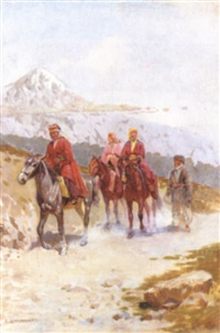 caucasians on horseback by o. shmerling