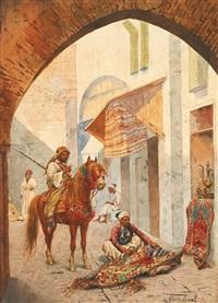 cavalier et marchand de tapis by giulio rosati