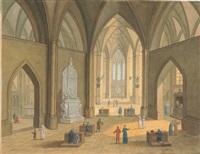 das innere einer gotischen hallenkirche by johann jakob hoch