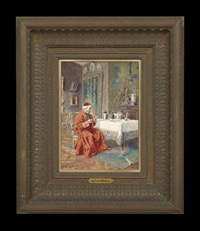 cardinal drinking champagne by alfred charles weber