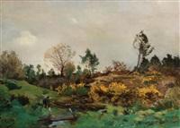 paysage animé dans la lande by gaston anglade