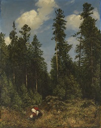 schwarzwaldtannen (beerenpflückerinnen) by hans thoma