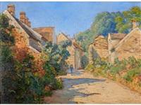 village street scene, summer by charles jean coussebiere