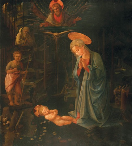 the adoration with the infant baptist and st bernard by filippo filippino lippi