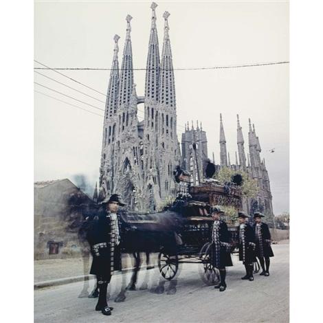 gaudi cathedral (la sagrada familia) with funeral cortege, barcelona by irving penn