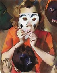frau mit maske by otto herbig