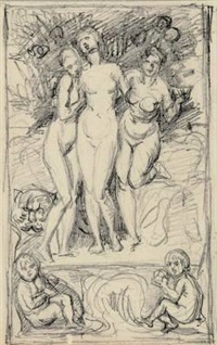reliefentwurf mit drei bacchantinnen und einem panther by adolf von hildebrand