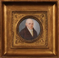 portrait of a gentleman, head and shoulders with close cropped hair and brown eyes wearing a brown coat, yellow waistcoat and white neckerchief by louis alexandre