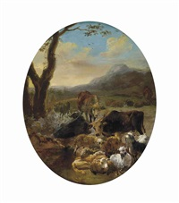a wooded mountainous landscape with cattle and sheep at rest, a drover beyond, in a feigned oval by adam de colonia