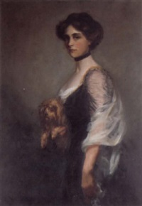 portrait of a lady and pet dog by richard copeland weatherby