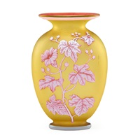fine vase decorated with flowering branches and butterfly by thomas webb and sons (co.)