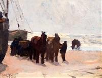 vissers met sleperspaarden en boten op het katwijkse strand by willy sluijter