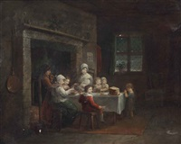 a family at a dining table in an interior by maria spilsbury